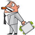 Bussinessman with the money suitcase Stock Photo