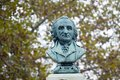 Bust of Thomas Paine atop his monument at New Rochelle, New York Royalty Free Stock Photo