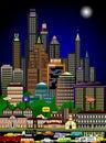 Rušný panoráma mesta v noc