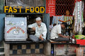 Bustling street in india mumbai march fast food on the hindu mumbai mumbai march Stock Image