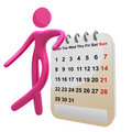 Busy 3d pictogram icon with schedule calendar Royalty Free Stock Photo