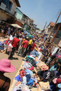 Busy african rural market madagascar october crowded in madagascar people buying clothing articles photo appropriate for Stock Images