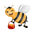 Busy bee illustration of a aappy carrying a honey pot Stock Image