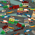 Busy city conceptual illustration of a with streets cars and houses cartoon style drawing Royalty Free Stock Image