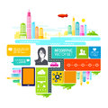 Busy city life vector illustration Stock Image