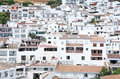 Busy, compact town or Pueblo of Mijas in Spain Stock Photos