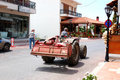 Busy Greek farmer drives his tractor Royalty Free Stock Images