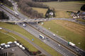 Busy highway interchange with seen from above aerial view Royalty Free Stock Photo