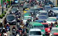 Busy hour in Asia Afrika Street, Royalty Free Stock Photo