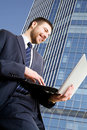 Busy modern businessman Royalty Free Stock Image