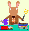 Busy a mother kangaroo doing multiple house chores Stock Image
