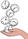 Busy person hand save time clocks saving hours of as fall in Royalty Free Stock Photos