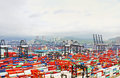 Busy port in the morning in Hong Kong from bird view. Royalty Free Stock Photo