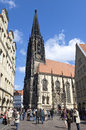 Busy shopping street lambertus church münster germany north rhine westphalia city in the historical center inner city downtown on Royalty Free Stock Photos