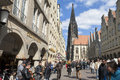 Busy shopping street lambertus church münster germany north rhine westphalia city in the historical center inner city downtown on Stock Photography