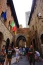 Busy street at the center of san gimignano italy Stock Photo