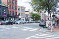 Busy Street in Georgetown Filled With Shops, Restaurants, Cafes, Shoppers, Cars, etc. #3 Royalty Free Stock Photo