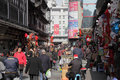 Busy street in shanghai china the old town of Royalty Free Stock Photos