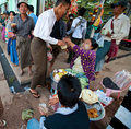 Busy street vendors selling breakfast at Yangon Royalty Free Stock Photo