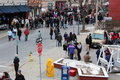 Busy streets with chowderfest,February 2nd, 2013,Saratoga Springs New York, Royalty Free Stock Photo