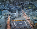 Busy streets of city of london in the dusk first evening lights and sunset london s panorama from the st paul cathedral uk january Stock Images
