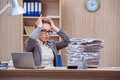 The busy stressful woman secretary under stress in the office Royalty Free Stock Photo