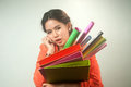 Busy thai business woman lot folders colorful papers background Stock Images