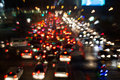 Busy thoroughfare during rush hour blurred background in bangkok thailand Royalty Free Stock Image