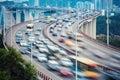 Busy traffic closeup and vehicles motion blur on xiamen haicang bridge Royalty Free Stock Photos