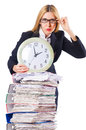 Busy woman with clock Stock Photography