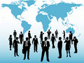 Busy world business people connect under map Stock Photo