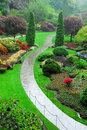 Butchart gardens in rain Stock Photography