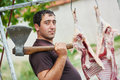 Butcher with axe and sheep carcass meat Royalty Free Stock Photo