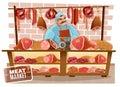 Butcher Cartoon Illustration