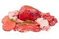 Butcher cut meat assortment garnished fresh Stock Images
