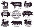 Butcher emblems. Butchery shop labels with animals silhouettes. Beef and pork, chicken and lamb, organic farm meat
