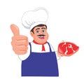 Butcher give thumbs up cartoon
