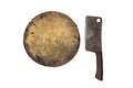 Butcher and large old chef s knife on white background with clip clipping path Stock Photo