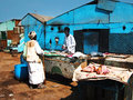 Butcher s market shop on a desert in shelatin in the south of egypt near the border of sudan the meat is placed in the sun and Royalty Free Stock Photos