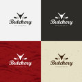 Butcher Shop Logo, Meat Label Template with Farm Animals Silhouettes and Knives.