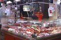 Butcher shop in market barcelona spain butchers indoor la boqueria on las ramblas catalonia Royalty Free Stock Photos
