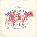 Butcher Shop vintage emblem beef meat products, butchery Logo template retro style. Vintage Design for Logotype, Label, Badge