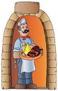Butcher with typical food the illustration depicts a doorway of a door which invites guests to enjoy a mix of culinary delights Stock Photo