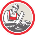 Butcher woodcut circle retro illustration of a cutter worker with meat cleaver knife facing side set inside on isolated background Stock Photos