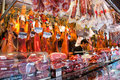 Butchery shop in La Boqueria market Royalty Free Stock Photos