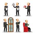 Butler Cartoon Set. Man with Serving Tray