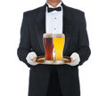 Butler Wearing Tuxedo Holding Tray Royalty Free Stock Photography