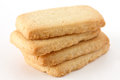 Butter biscuits in a stack on white surface Royalty Free Stock Photography