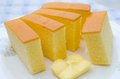 Butter cake sliced on ceramic plate Royalty Free Stock Images