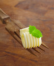 Butter curl garnished with mint Royalty Free Stock Photo